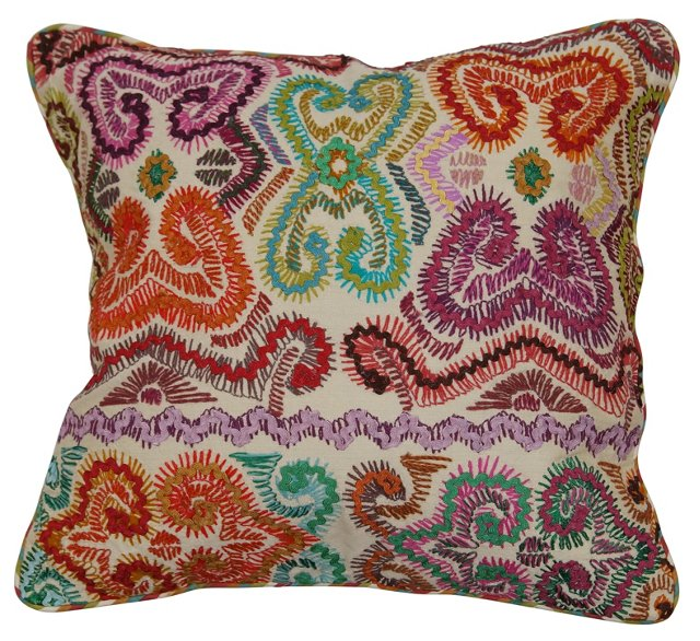 Fete 18x18 Embroidered Pillow, Multi