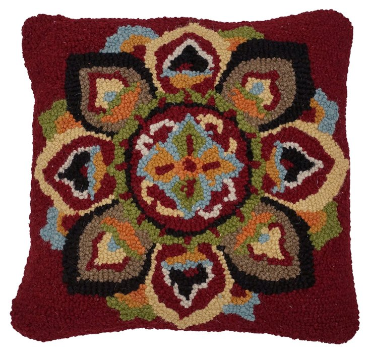 Bloom 18x18 Embroidered Pillow, Red