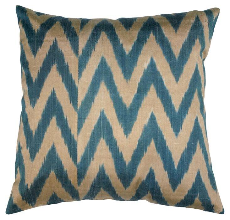 Chevron 18x18 Pillow, Blue/Tan