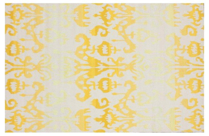 """8'3""""x11' Ikat Rug, Cream/Saffron/Butter"""