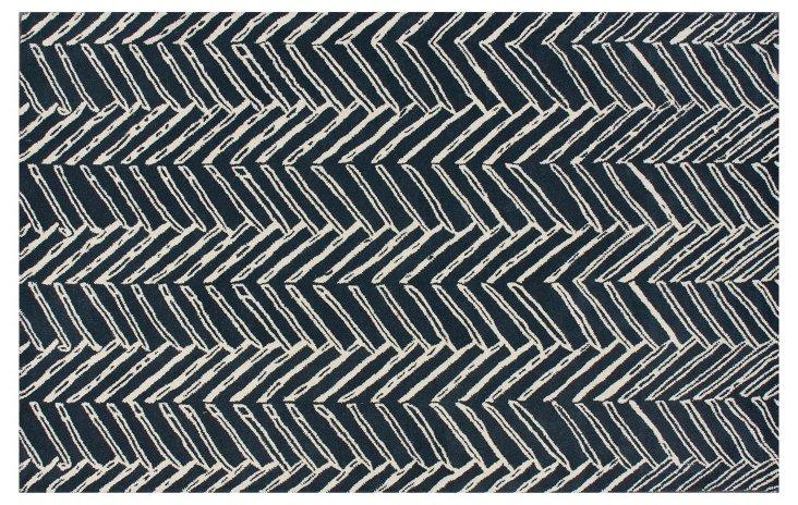 5'x8' Scribner Rug, Navy
