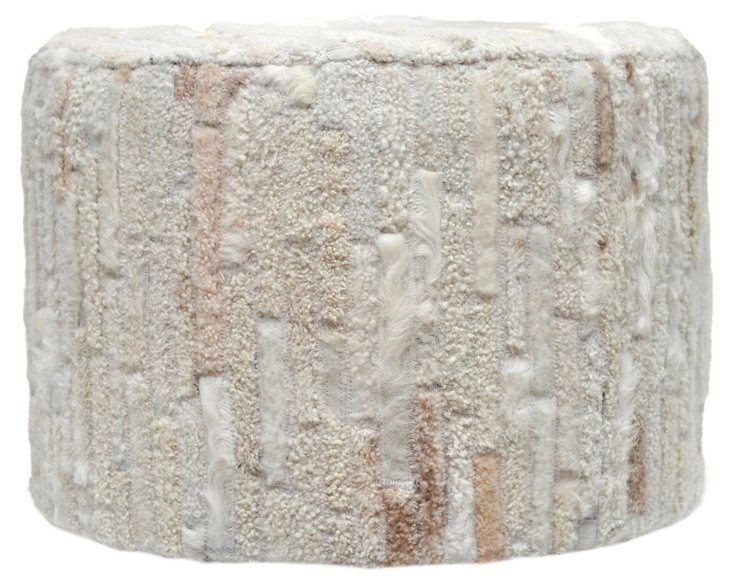 Perry Cowhide Ottoman, Cream