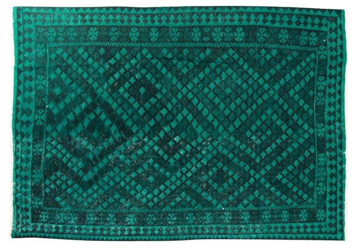 "6'8""x9'7"" Miguel Flat-Weave Rug, Emerald"