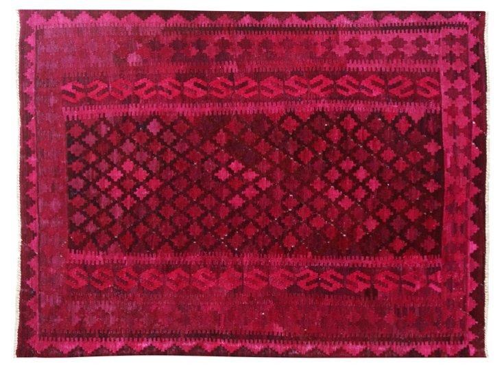 "6'5""x9'4"" Verela Flat-Weave Rug, Berry"
