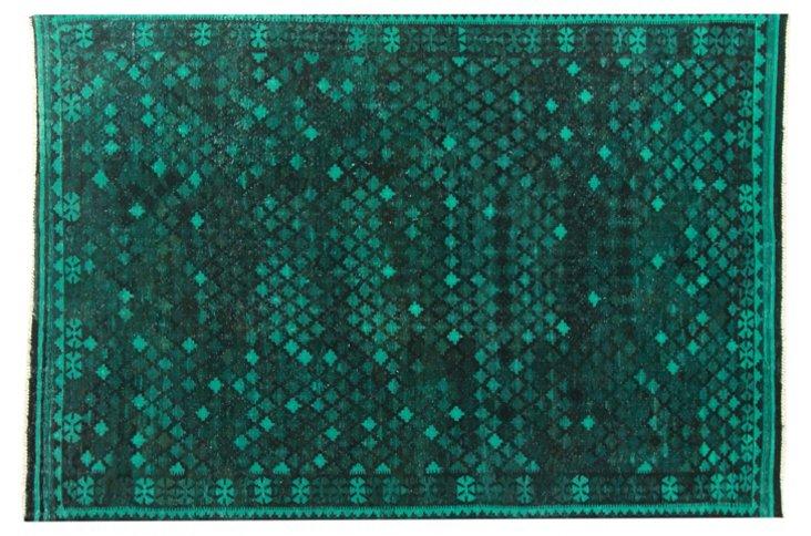 "6'6""x9'6"" Fernan Flat-Weave Rug, Emerald"
