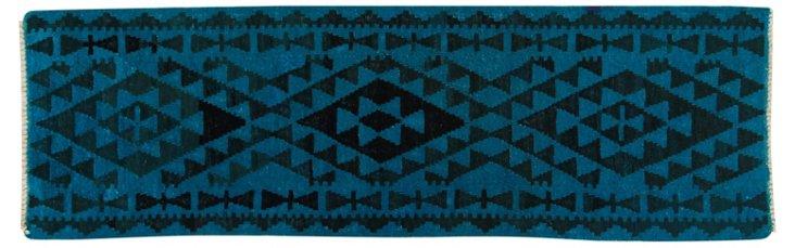 """2'6""""x7'10"""" Albi Flat-Weave Runner, Ocean"""