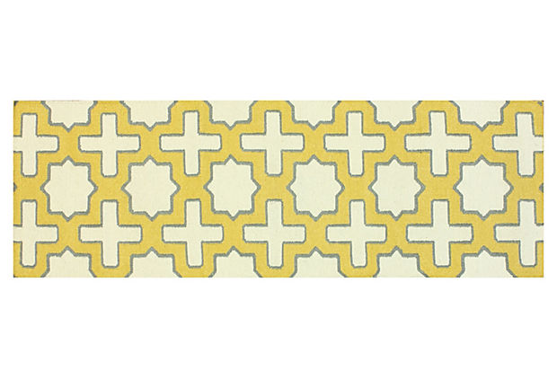 "2'6""x8' Zale Flat-Weave Runner, Yellow"