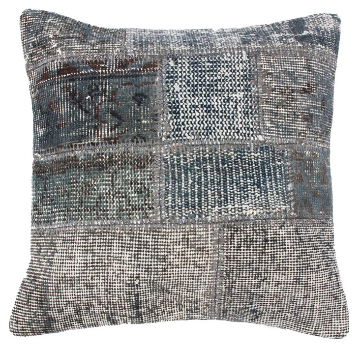 Patchwork 20x20 Pillow, Silver Gray/Blue