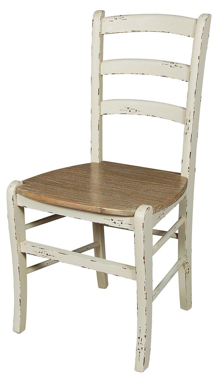 Jillian Chair, Distressed White/Natural
