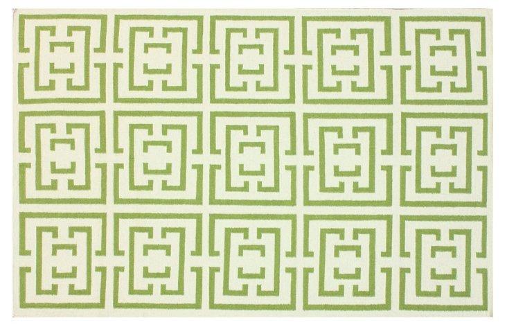 "7'6""x9'6"" Shiara Flat-Weave Rug, Green"