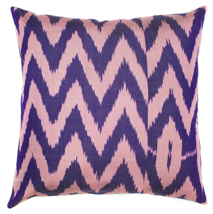 Chevron 18x18 Silk-Blend Pillow, Pink