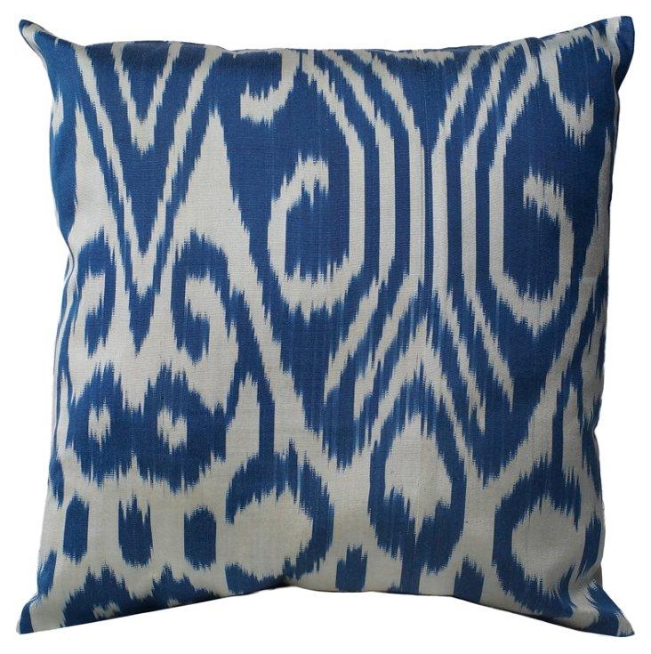 Riley Cotton Pillow, Blue