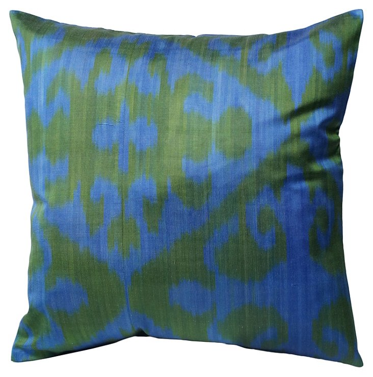 Liana 18x18 Cotton Pillow, Blue/Green