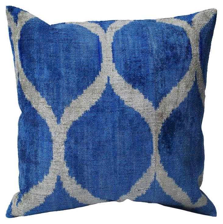 Tobbi Silk-Blend Pillow, Blue