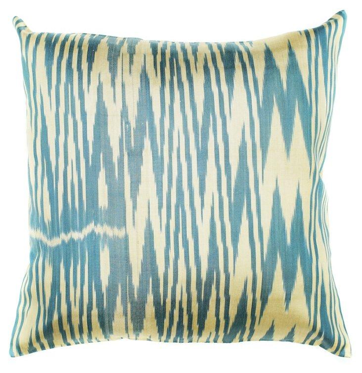 Ikat 18x18 Silk-Blended Pillow, Blue