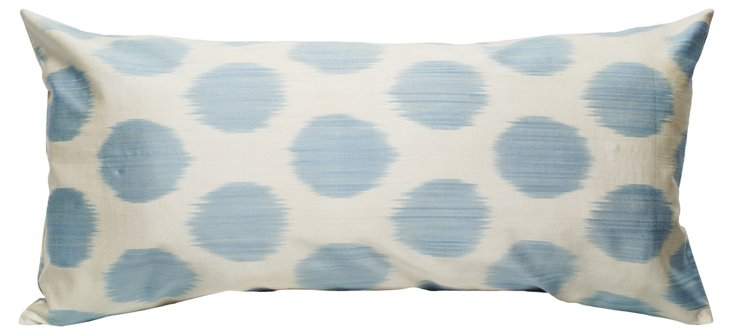 Ikat 15x30 Cotton Pillow, Blue
