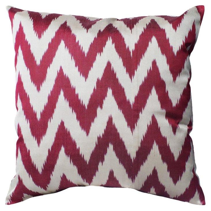 Ikat Chevron Cotton Pillow, Red