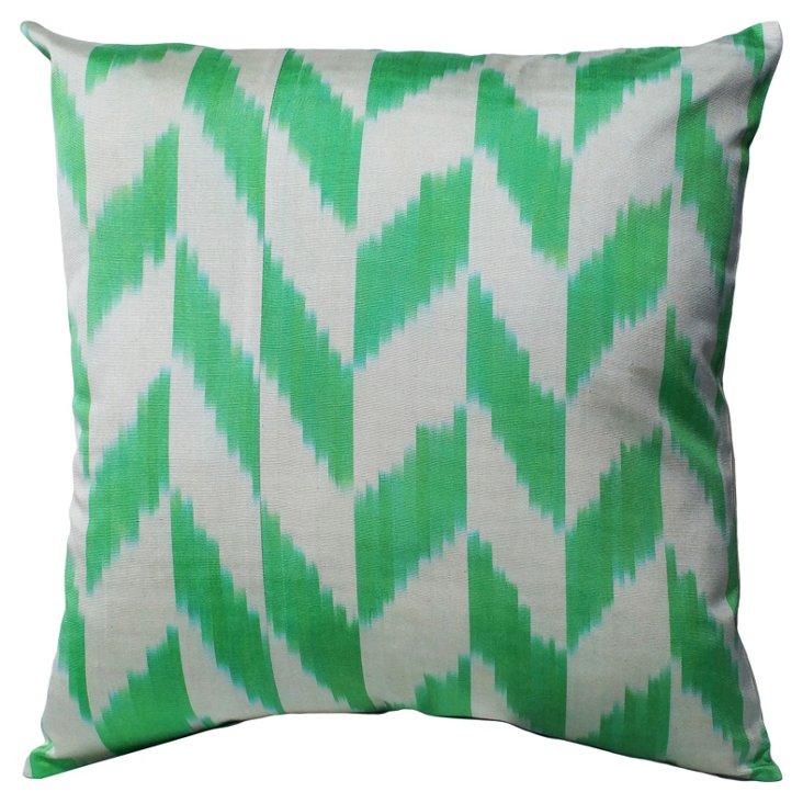 Ikat Cotton Pillow, Green