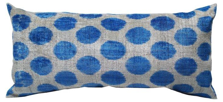 Ikat 15x30 Silk-Blended Pillow, Blue