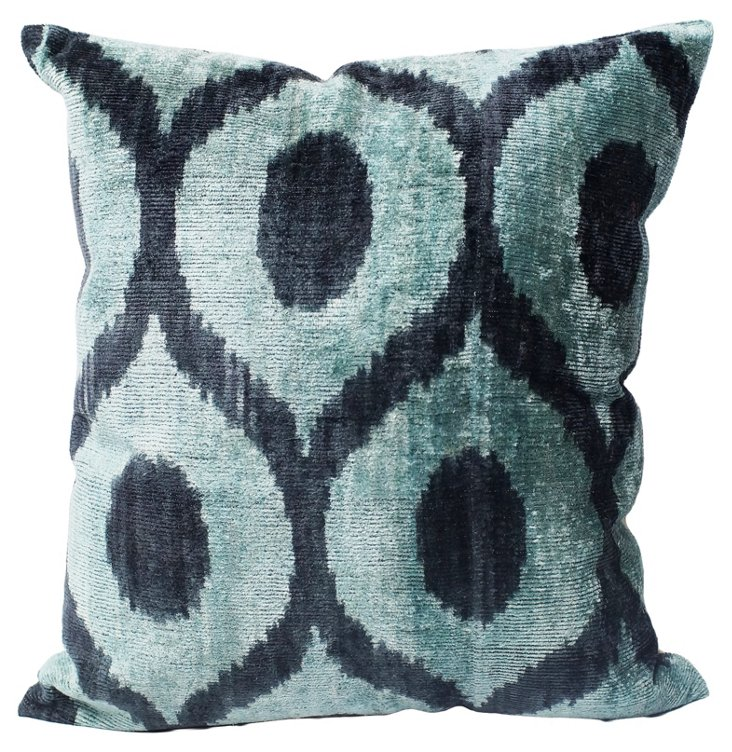 Ikat Silk-Blended Pillow, Turquoise