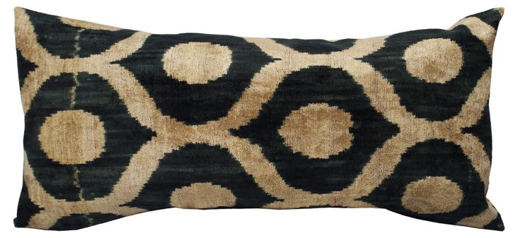 Ikat 15x30 Silk-Blended Pillow, Tan