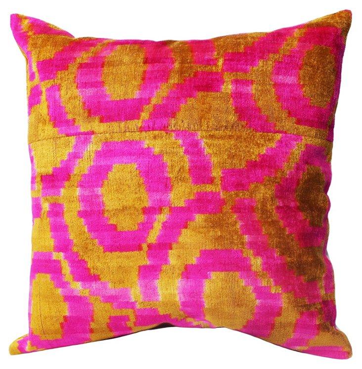 Ikat Silk-Blended Pillow, Pink