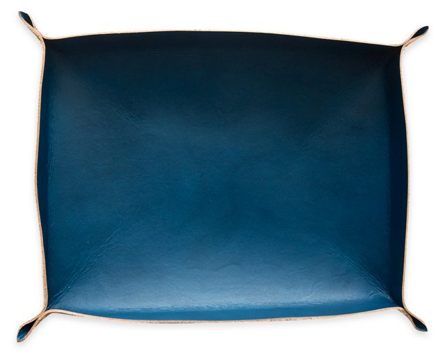 Blue Leather Tray