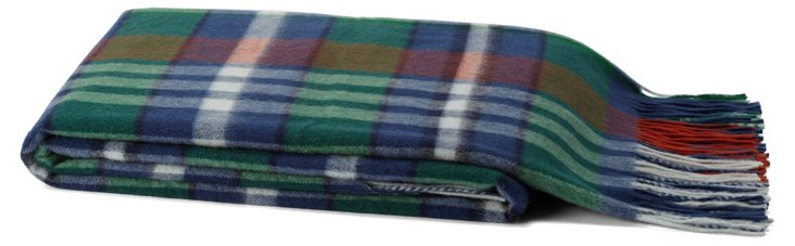 Plaid Cashmere-Blend Throw, Green
