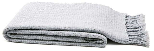 Portside Cotton Throw, Ice Blue