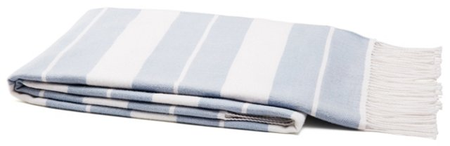 Classic Stripe Cotton Throw, Ice Blue