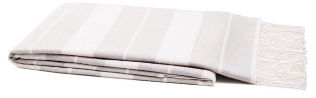 Classic Stripe Cotton Throw, Dove