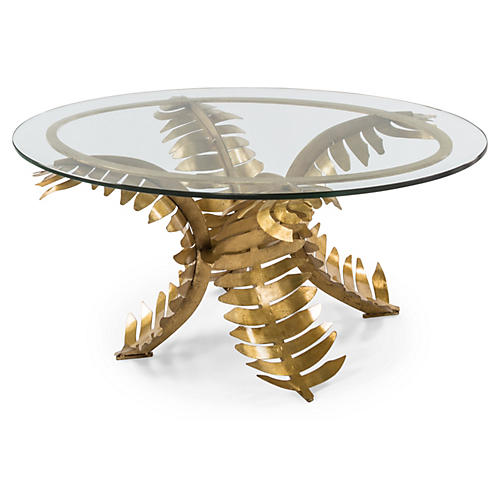Palm Oval Coffee Table, Gold