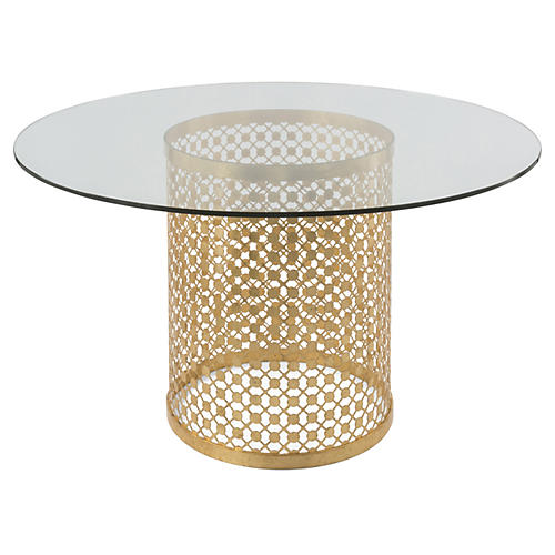"""Cielo 54"""" Round Dining Table, Gold"""