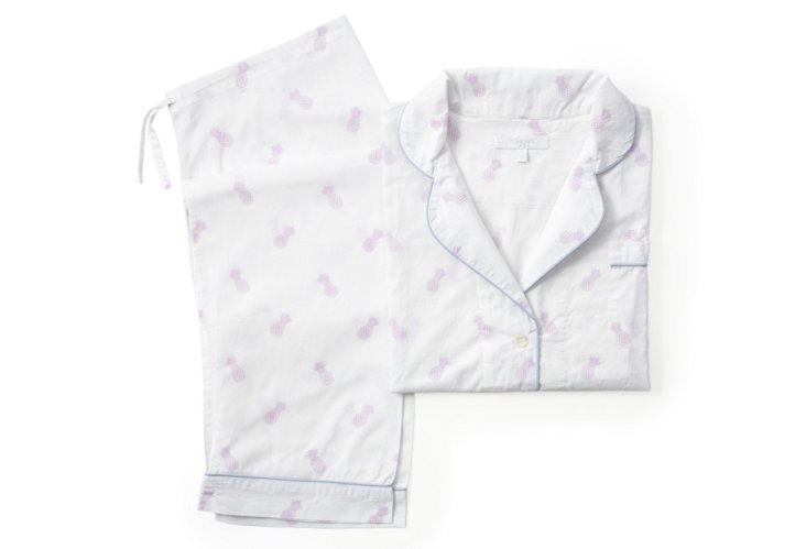 Pineapple Long Pajama Gift Set, Lav