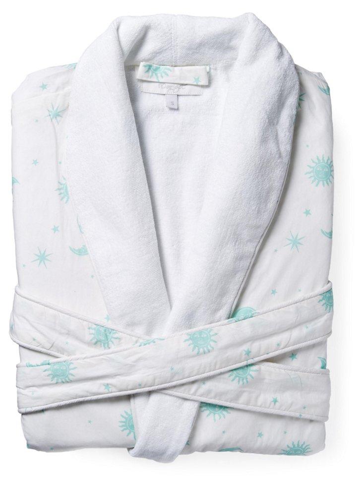Sun Moon Block Print Robe,Turquoise