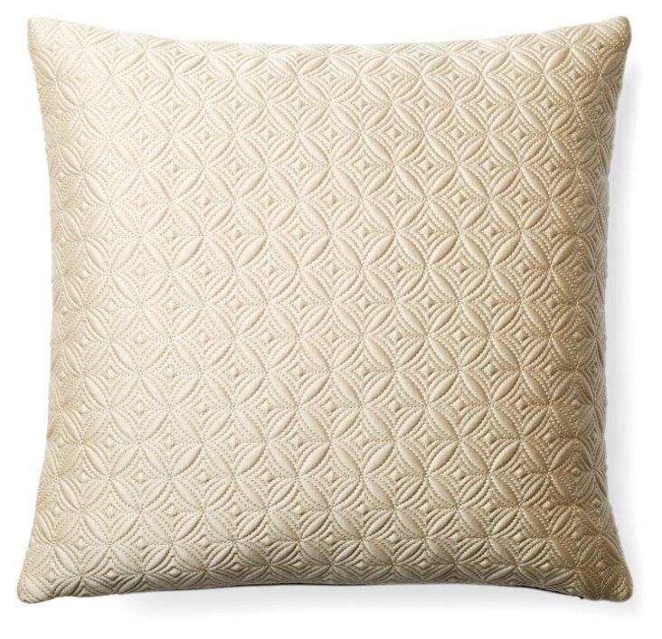 Diamond 16x16 Cotton-Blend Pillow, Gold