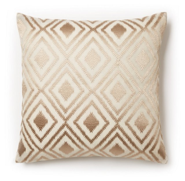 Kendra 16x16 Embroidered Pillow, Bronze