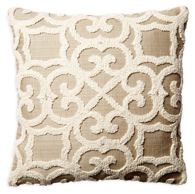 Rayne 16x16 Cotton Pillow, Beige
