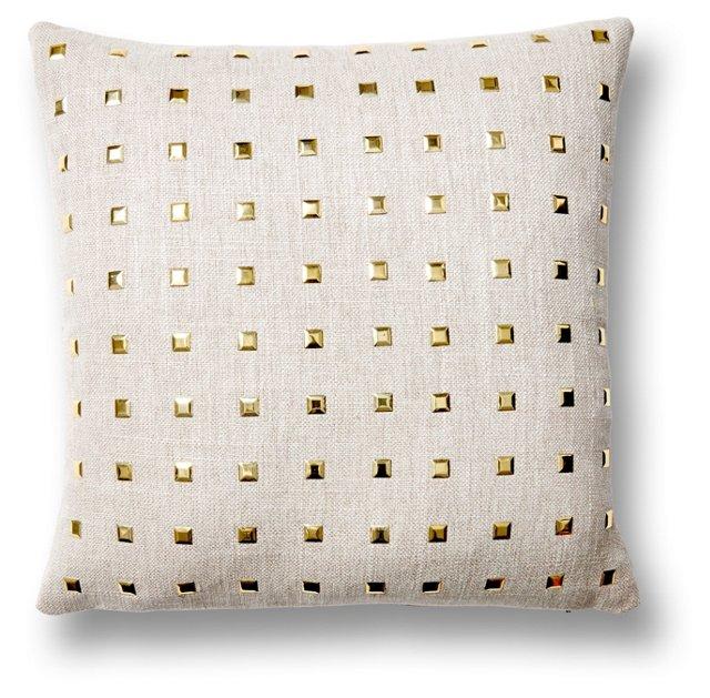 Glamour 16x16 Cotton Pillow, Gray