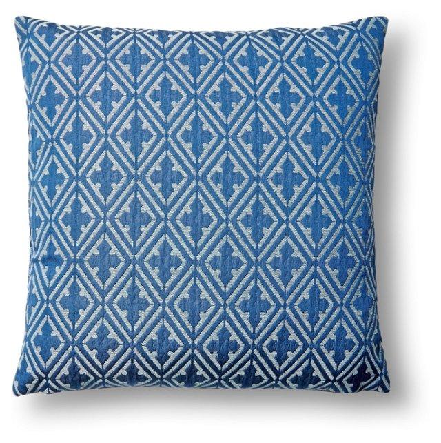 Diamond 17x17 Cotton Pillow, Indigo