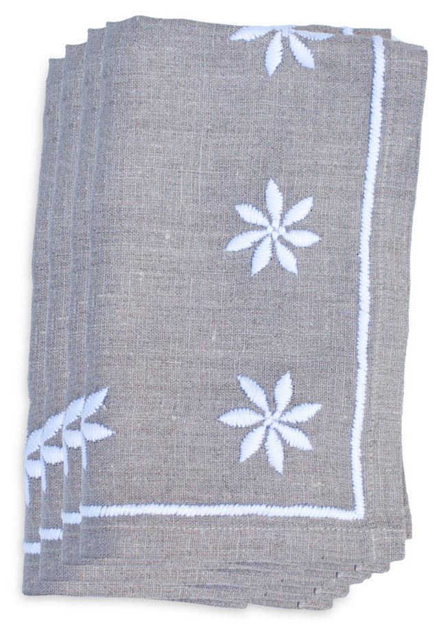 White Flower Napkins, Set of 4
