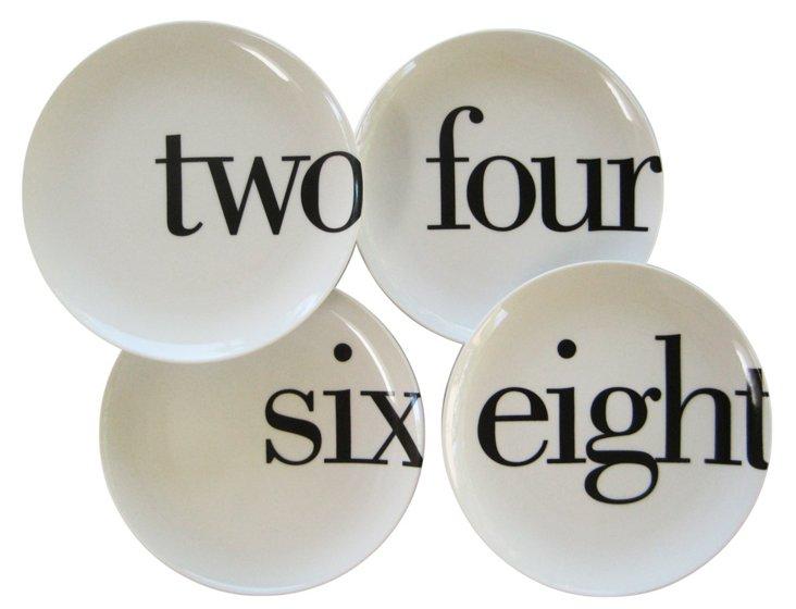 S/4 Porcelain Even-Number Salad Plates