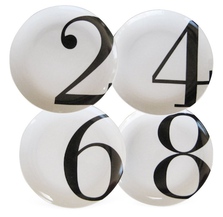 S/4 Even-Number Dinner Plates