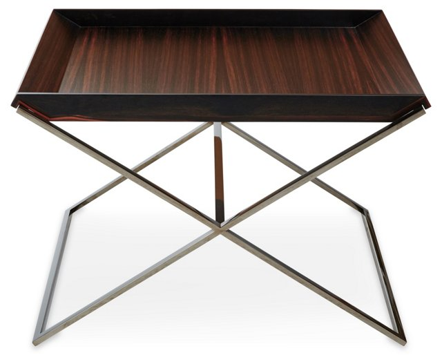 "Dual 24"" Low Tray Table, Ebony/Java"
