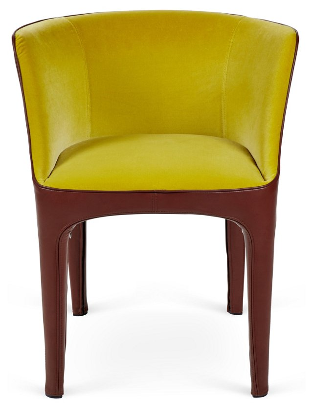 Diana Leather Armchair, Brown/Chartreuse