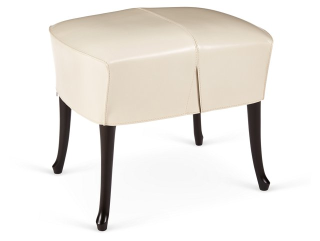 Progetti Leather Stool, Ivory