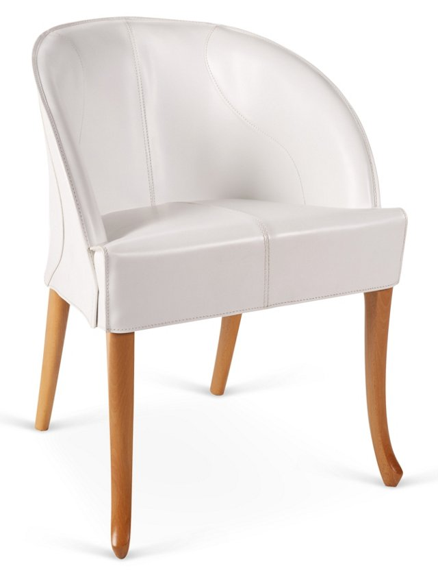 Progetti Leather Side Chair, White