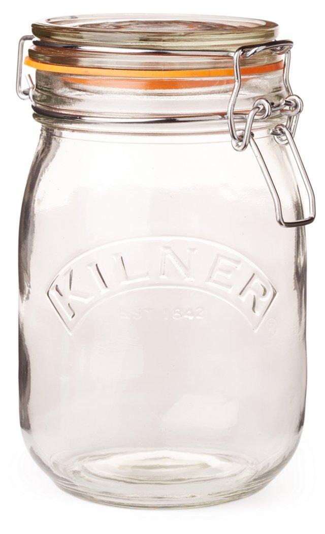 S/6 Clip Top Jars, 34 Oz