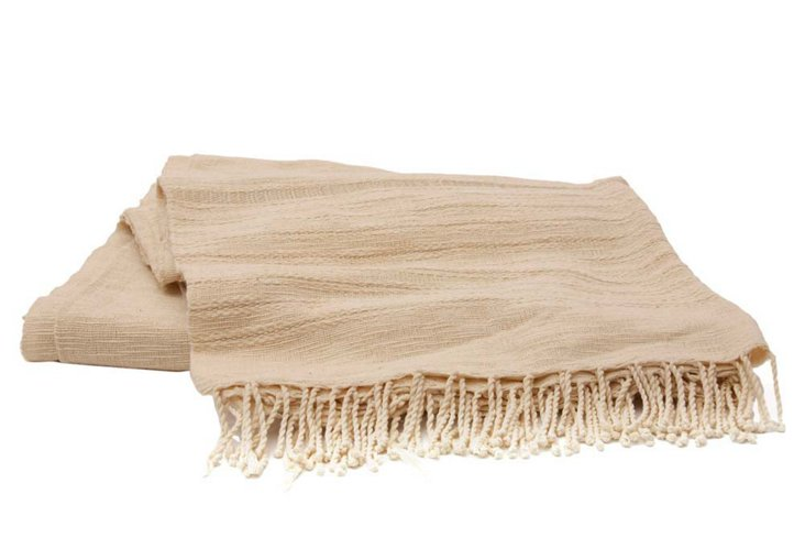 Hand Woven Bed Spread II, Cream