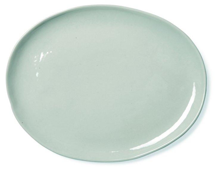 Oval Shell Bisque Platter, Seafoam